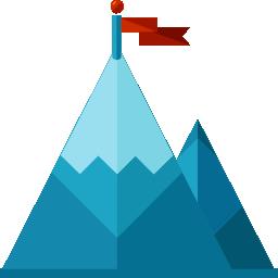 Red flag atop a mountain