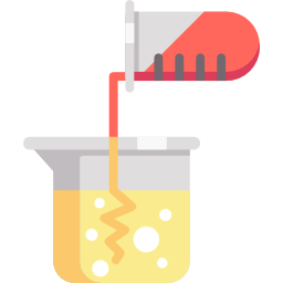 One beaker pouring into another
