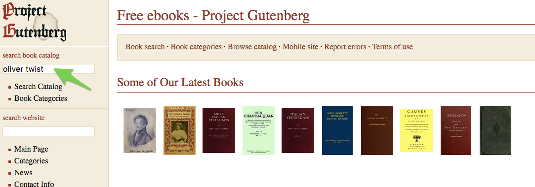 Searching for Oliver Twist on Gutenberg